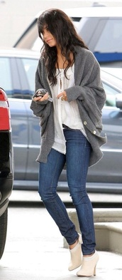 sweater,tumblr,vanessa hudgens,oversized sweater,blouse,shoes,ankle boots,cardigan,grey,pullover