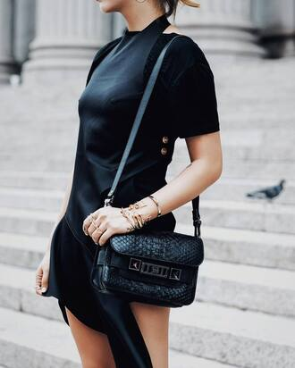 dress tumblr black dress mini dress asymmetrical asymmetrical dress t-shirt black t-shirt bag black bag proenza schouler shoulder bag all black everything satin dress satin