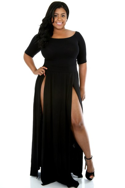 black, double slit skirt, dress, maxi dress, plus size dress, plus ...