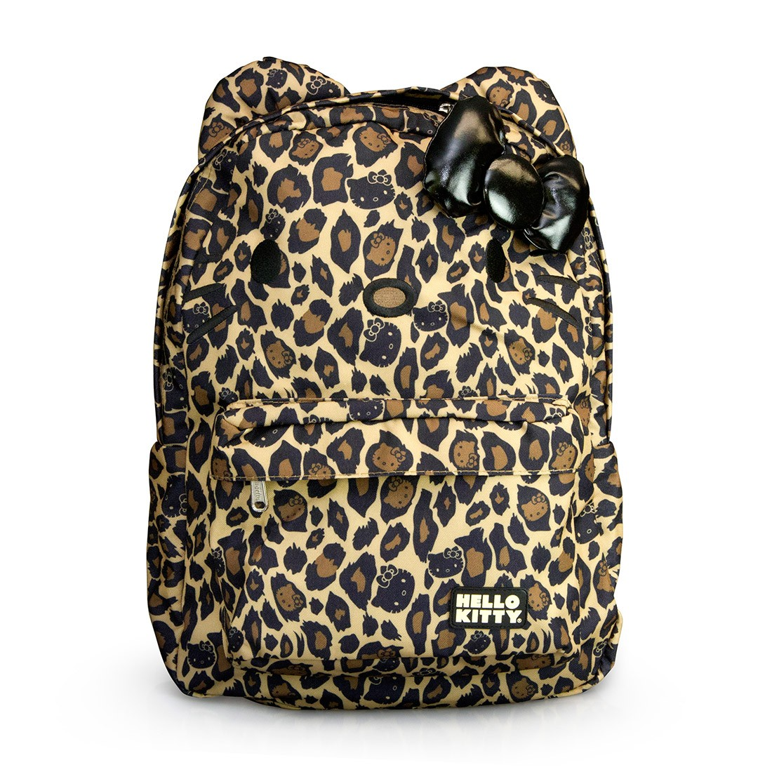 Hello kitty leopard with black bow backpack