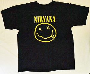 Nirvana Dead Happy Smiley Face Vintage 1992 Large Black T Shirt Kurt Cobain | eBay