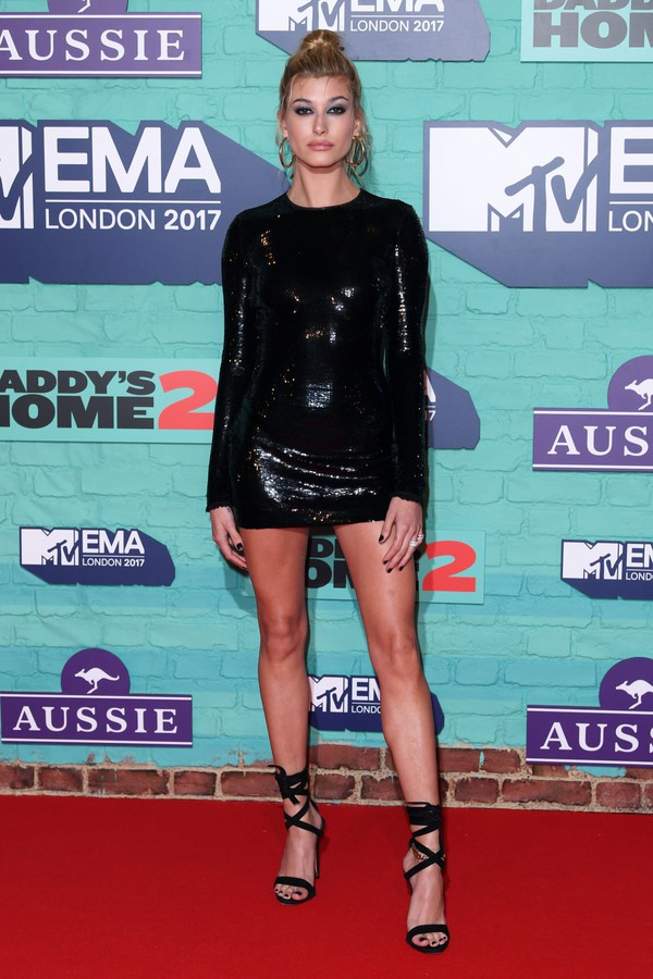 dress black dress sandals hailey baldwin mini dress long sleeve dress bodycon dress sequin dress sequins shoes mtv ema awards