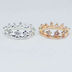 Gold Silver Tone Crystal Crown Charm Ring E0033A   eBay