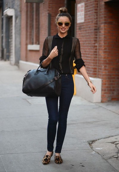 chic miranda kerr classy model victoria's secret jeans simple summerlook sophisticated shoes bag