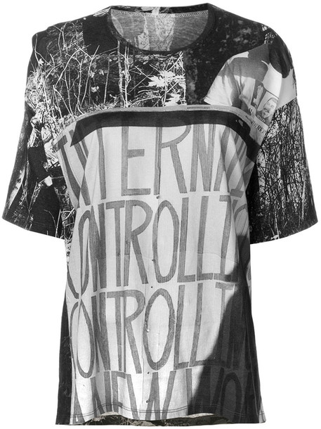 Marios - graphic print T-shirt with exaggerated drape back - women - Cotton - S, Grey, Cotton