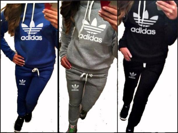46100e42699 romper black grey grey blue hoodie sportswear sweater grey sweatshirt adidas  logo tracksuit adidas logo adidas