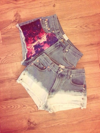 shorts galaxy shorts denim shorts