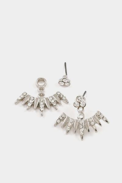 Spiked Crystal Ear Jackets Earrings