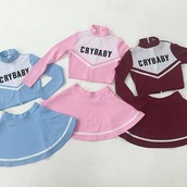 shirt,crybaby,mini skirt,crop tops,short skirt,pink,red,burgundy,two piece dress set