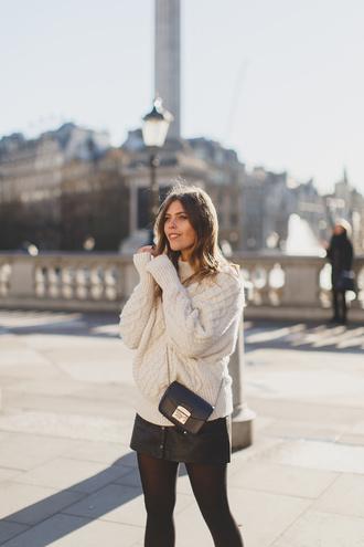 wish wish wish blogger sweater skirt shoes bag mini skirt white sweater knitted sweater black skirt