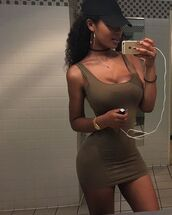 dress,sexy,scoopneck,tank dress,iphone,choker necklace,bodycon dress,tight,mini dress,mini,scoopneck dress,cute,cute dress,earrings,hoop earrings,baseball cap,fashion,outfit,summer,summer outfits,simple style,selfie,pretty,pretty girl,gold watch,watch,black girls,clothes,bathroomselfie