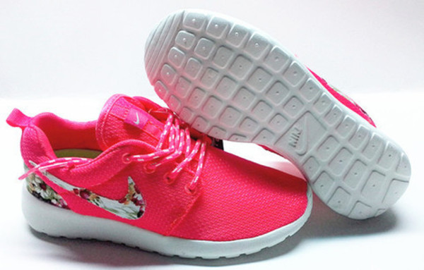 a85099d7e97f shoes neon pink nike roshes floral pink nike running shoes nike shoes nike  roshe run floral.