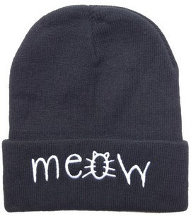 2 New Styles Meow Beanie Hats Black Grey Solid High Quality Mens Or