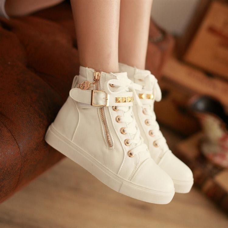 Women's Spike Stud Canvas Sneaker Buckle Tennies Platform Creeper Shoes | eBay