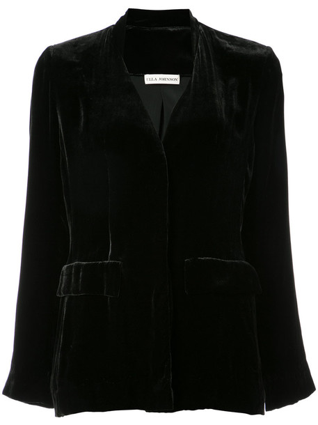 blazer open women black silk jacket