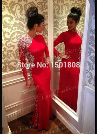 dress red elegant o-neck a-line sparkle bright long sleeves