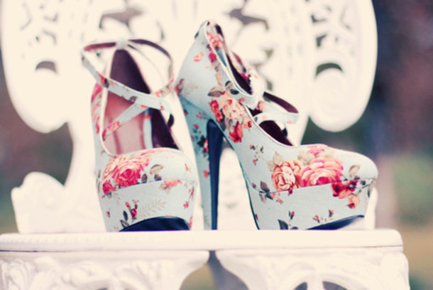 shoes heels floral