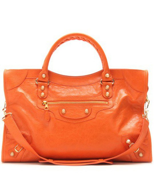 leather yellow orange red bag