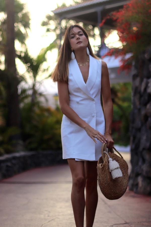 4f367a82 marilyn's closet blog blogger dress jewels shoes bag blazer dress raffia bag
