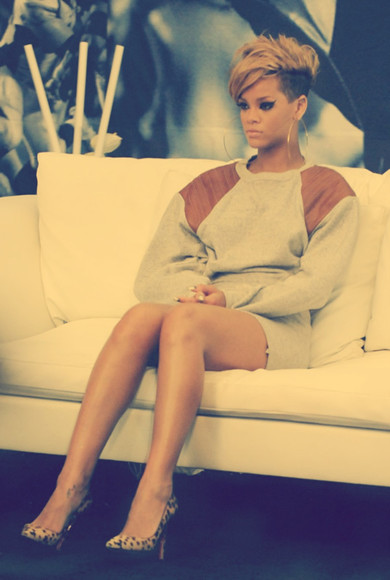 dress brown dress rihanna grey dress leather leather dress jewels