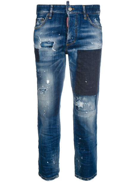 Dsquared2 jeans cropped jeans cropped women spandex boyfriend leather cotton blue