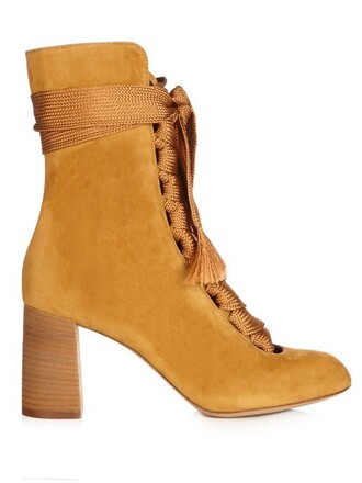 suede ankle boots boots ankle boots lace suede dark yellow shoes