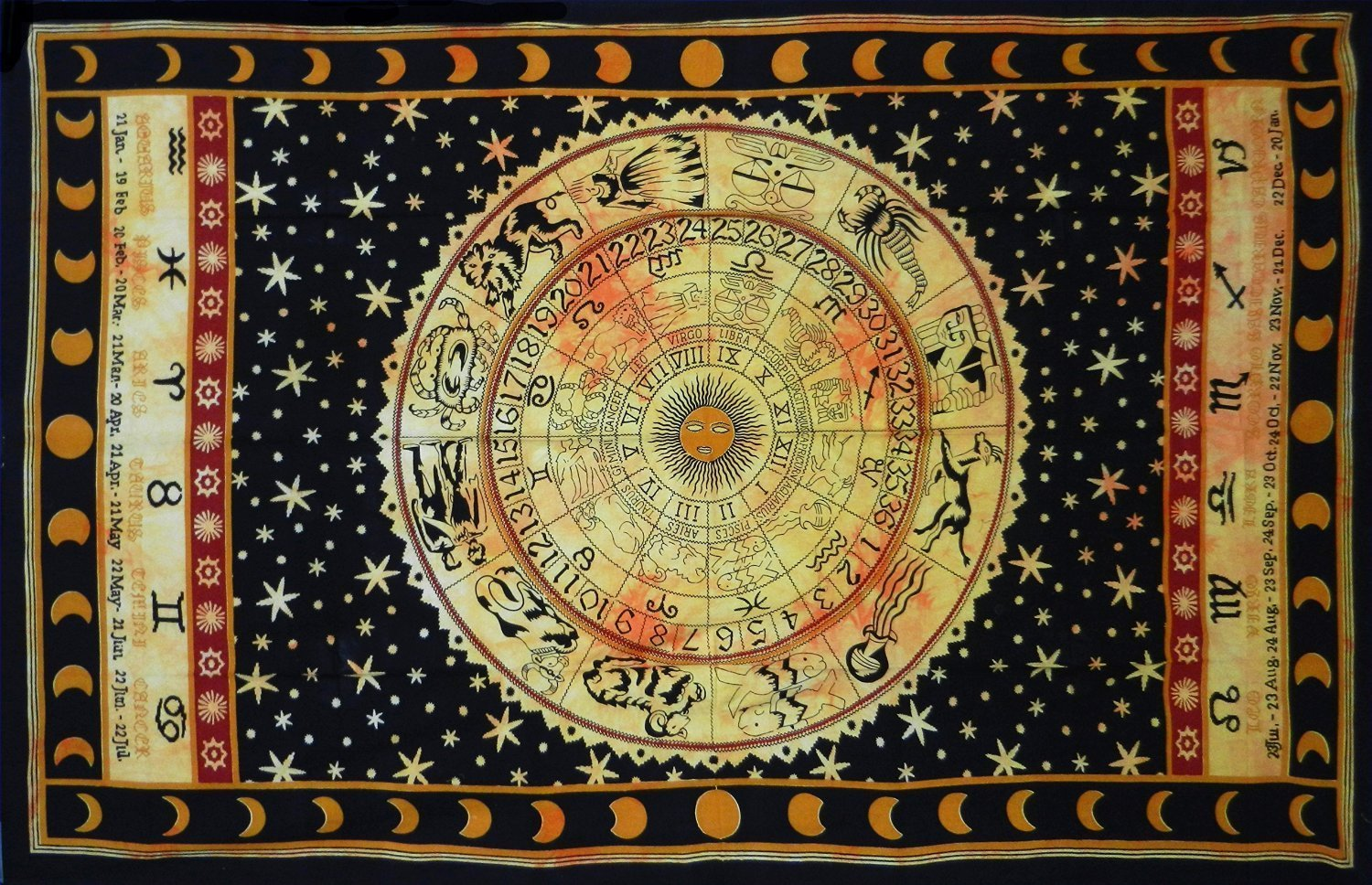 "Black zodiac horoscope tapestry, indian astrology hippie wall hanging, ethnic decorative art, celtic zodiac tapestry. (85"" x 55')"