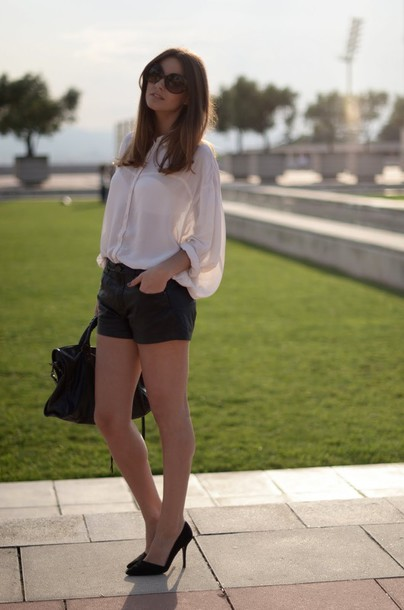 leather zina fashion vibe black shorts shoes