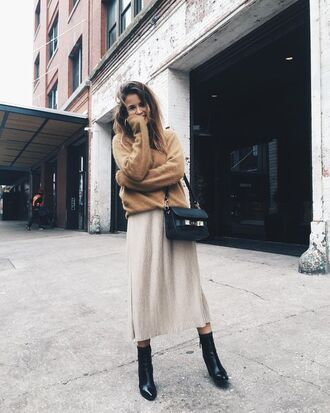 skirt all beige everything midi skirt boots high heels boots black boots bag black bag sweater beige sweater slit skirt beige skirt blogger collage vintage