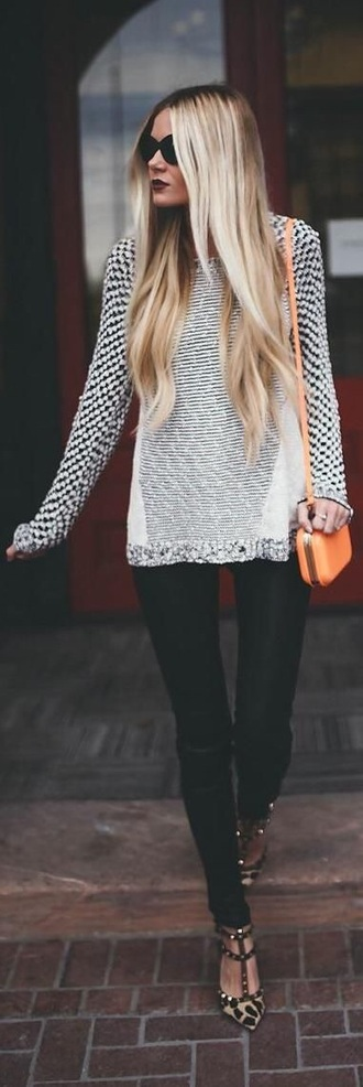 sweater black and white jumper