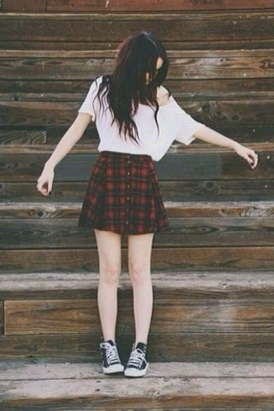 blouse skirt white blouse high waist skirts plaid skirt