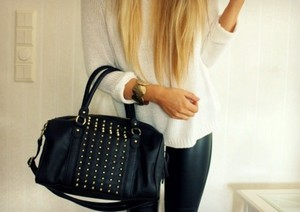 bag purse leather bag studded