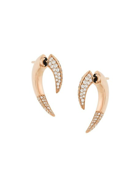 SHAUN LEANE rose gold rose women earrings gold grey metallic jewels