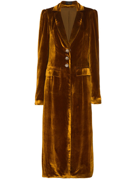 De La Vali coat long women silk velvet yellow orange