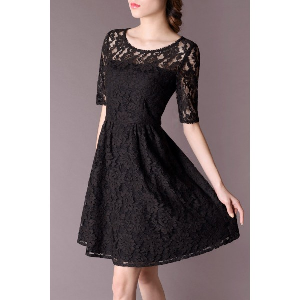 Black See Through Floral Lace Skater Dress