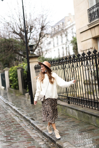b a r t a b a c blogger skirt sweater shoes bag hat spring outfits gucci bag white sweater midi skirt