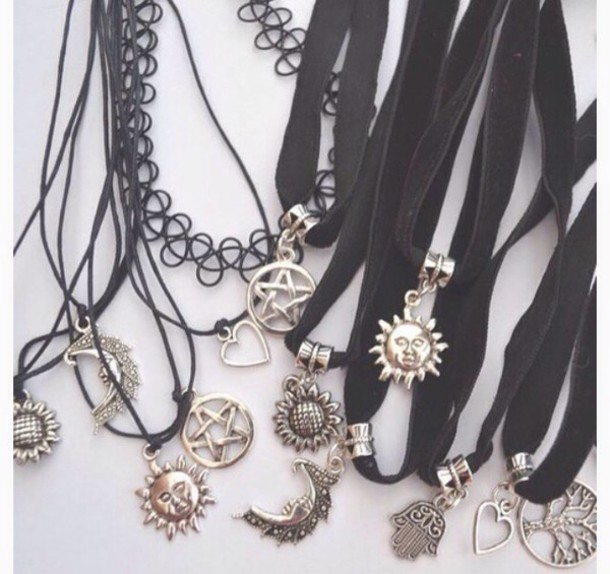 jewels necklace choker necklace grunge jewelry grunge necklace indie black black choker jewelry black necklace silver necklace