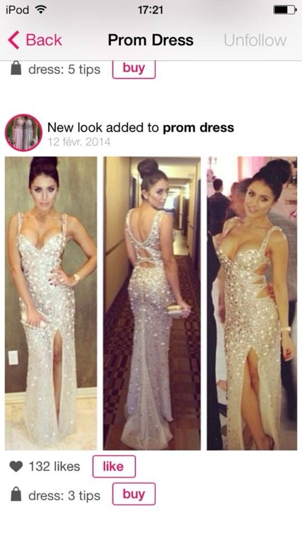 dress prom dress rhinestones silver sexy