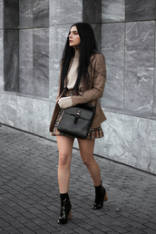 holy nights,blogger,jacket,skirt,shoes,bag,brown jacket,ankle boots,plaid skirt,mini skirt,winter outfits