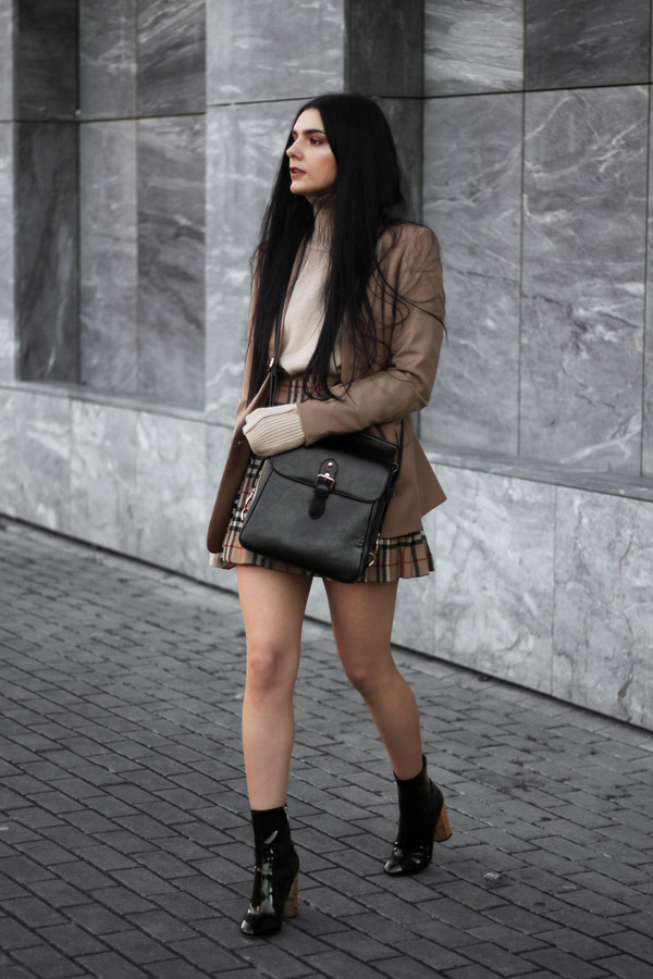 holy nights blogger jacket skirt shoes bag brown jacket ankle boots plaid skirt mini skirt winter outfits