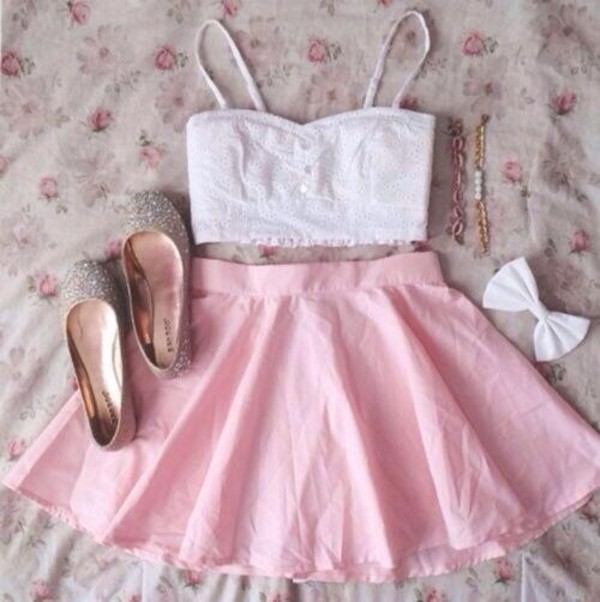 shirt tumblr clothes tank top white crop tops crop tops white bralette bralette pink skirt pink baby pink baby pink skirt ballet pumps summer cute skirt shoes hair accessory jewels lovely summer outfits summer dress summer top dress white top