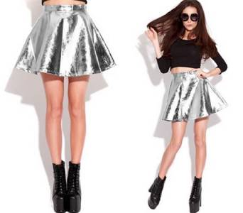 Stiff Silver Metallic Pleated Flare Skater Mini Skirt High Shine Sexy A Line | eBay