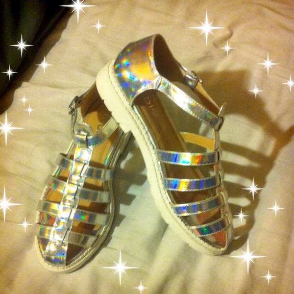 shoes gold holographic sandals soft ghetto