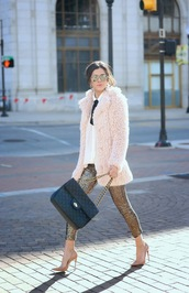 coat,tumblr,pink coat,bag,black bag,quilted bag,chain bag,pants,gold,gold sequins,sequins,sequin pants,pumps,pointed toe pumps,high heel pumps,nude heels,shirt,white shirt,sunglasses,mirrored sunglasses