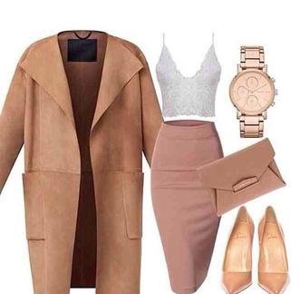 top nude heels watch clutch strappy heels camel coat