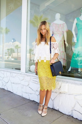 skirt shoes top bag late afternoon sunglasses