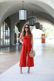 carriebradshawlied,blogger,jumpsuit,shoes,bag,sunglasses,jewels,red jumpsuits,sandals,high heel sandals