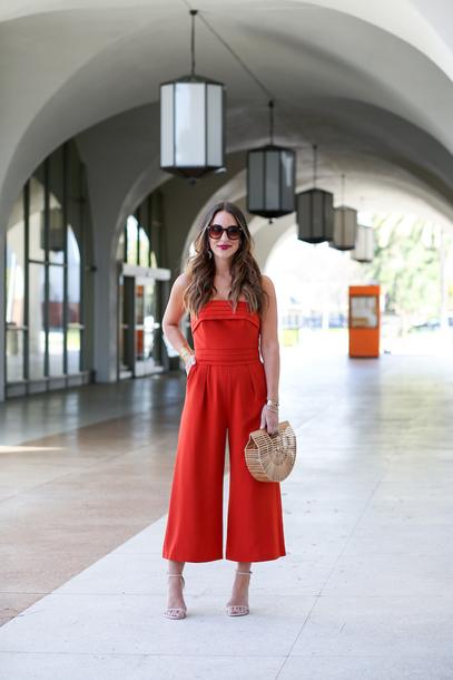 carriebradshawlied blogger jumpsuit shoes bag sunglasses jewels red jumpsuits sandals high heel sandals