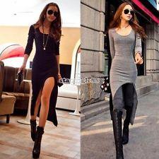 Long Sleeve Slim irregolare delle nuove donne asimmetrico Vestito lungo sexy | eBay