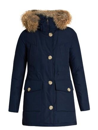 parka fur cotton dark blue dark blue coat